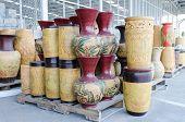 Colorful ceramic pots in market