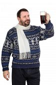 Bearded Man In Sweater Is Keeping Ale Pint