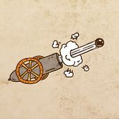 Shooting Cannon. Cute Hand Drawn Vector illustration, Vintage Paper Texture Background