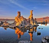 Mono Lake - a natural wonder in the United States. Outliers - bizarre limestone calcareous tufa form