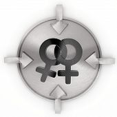 3D Graphic Of A Glossy Homosexual Symbol On Metallic Label