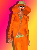 picture of navel  - Woman wearing a floppy orange hat and matching suit with turquoise beaded necklace - JPG