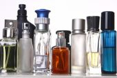 stock photo of perfume bottles  - different shapes of perfume bottles in a white background - JPG