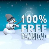 Snowman With Magic Wand And 100 Percent Free Download Label