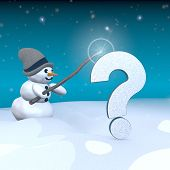 Snowman With Magic Wand And Question Symbol