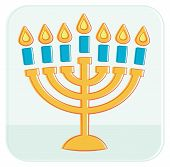 stock photo of menorah  - Menorah with seven candles - JPG