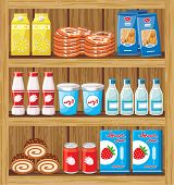 Supermarket Shelves With Food