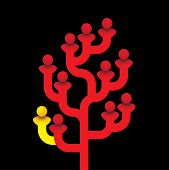 Red Tree Of Related People With One Person Being Different