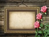 Old Vintage Frame For Photos And A Bouquet Of Yellow Roses