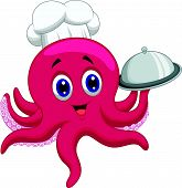 stock photo of octopus  - Vector illustration of Octopus chef cartoon holding platters - JPG