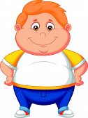 stock photo of bulging belly  - Vector illustration of Fat boy cartoon posing - JPG