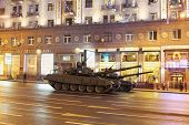 MOSCOW - MAY 3: Tanks T-90A on Tverskaya street during a rehearsal of the Victory Day parade on May
