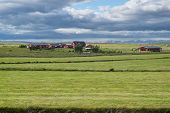 stock photo of iceland farm  - Farm complex between Gullfoss and Geyser in southwestern Iceland - JPG