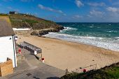 image of st ives  - Porthgwidden beach St Ives Cornwall England with colourful beach huts - JPG