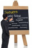 Composite image of asian businessman pointing a chalkboard with german terms related to taxes