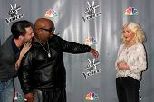 LOS ANGELES - NOV 7:  Adam Levine, CeeLo Green, Christina Aguilera at the The Voice Season 5 Judges