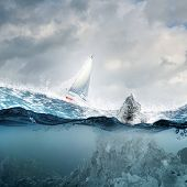 Submerged ocean view with yacht floating above