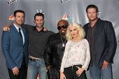 LOS ANGELES - NOV 7: Carson Daly, Adam Levine, CeeLo Green, Christina Aguilera, Blake Shelton at the The Voice Season 5 Judges Photocall at Universal Studios Lot on November 7, 2013 in Los Angeles, CA