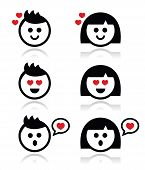 Man and woman in love icons set