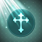 Merry Christmas celebration concept with Christian Cross on shiny blue background.