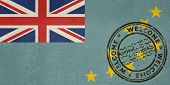 Welcome to Tuvalu flag with passport stamp
