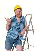 Builder On Step Ladder  - Isolated On White