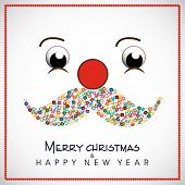 Happy New Year and Merry Christmas celebration concept with and funny face of Santa Claus with colorful mustache on grey background,