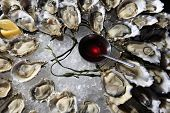 stock photo of souse  - Opened oysters on ice with red souse - JPG