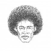 Afroamerican man. Hand drawn. Jpeg version.