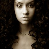 foto of black curly hair  - Elegant girl with magnificent curly hair - JPG