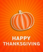 Happy Thanksgiving Day - Autumn Illustration With Striped Pumpkin And Orange Rays