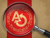 Magnifying Glass with Translating Concept.