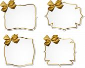 Holiday gift cards with golden ribbons and satin bows. Vector illustration.