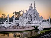 Wat Rong Khun, aka the White Temple, at Sunset in Chiang Rai, Thailand
