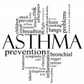 Asthma Word Cloud Concept In Black And White
