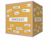 Democracy 3D Cube Corkboard Word Concept