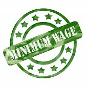 Green Weathered Minimum Wage Stamp Circle And Stars