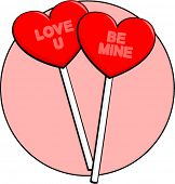 valentines heart shaped lollipops with written messages