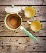 picture of saucepan  - Old cups and saucepan in a retro kitchen table setting - JPG