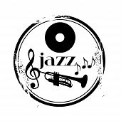 pic of banjo  - stamp Jazz live music with trumpet and notes - JPG