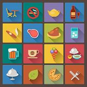 Set Of Food And Alcohol Drink Icons In Flat Design Style