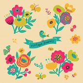 Retro flowers in vector. Cute floral bouquets. Vintage floral set. Save the date design collection.