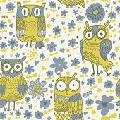 Funny owls in flowers in vector. Stylish vintage background in blue and green colors. Seamless patte
