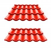 red corrugated tile element of roof. Rasterized illustration.
