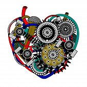 Mechanical heart. Vector illustration.