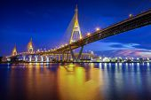 The Bhumibol Bridge At Twilight