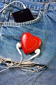 image of heart sounds  - jeans background with  red heart - JPG