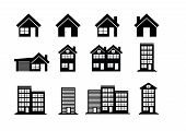 Building Icons Set  Town city building design