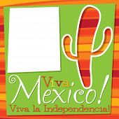stock photo of spiky plants  - Viva Mexico Cactus Card In Vector Format - JPG