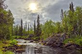 Mystical Landscape On The River Polisarke. Kola Peninsula.
